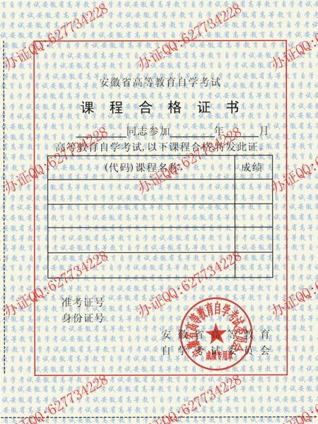 安徽省高等教育自学考试课程合格证书样本一