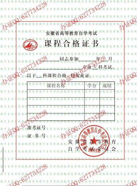 安徽省高等教育自学考试课程合格证书样本二