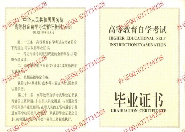 广西壮族自治区高等教育自学考试毕业证书样本(内页1)