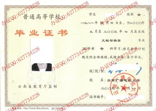 云南广播电视大学2003年大专毕业证